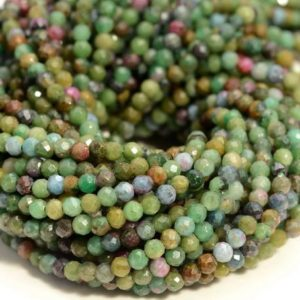Shop Ruby Zoisite Faceted Beads! 3mm Genuine Brazil Ruby Zoisite Green Red Gemstone Grade AAA Multi Color Micro Faceted Round Beads 15.5 inch Full Strand (80004634-344) | Natural genuine faceted Ruby Zoisite beads for beading and jewelry making.  #jewelry #beads #beadedjewelry #diyjewelry #jewelrymaking #beadstore #beading #affiliate #ad