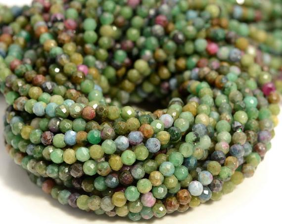 3mm Genuine Brazil Ruby Zoisite Green Red Gemstone Grade Aaa Multi Color Micro Faceted Round Beads 15.5 Inch Full Strand (80004634-344)
