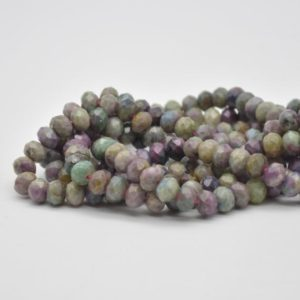 "Shop Ruby Zoisite Faceted Beads! Grade A Natural Ruby Zoisite Semi-precious Gemstone FACETED Rondelle Spacer Beads – 8mm x 5mm – 15.5"" strand 