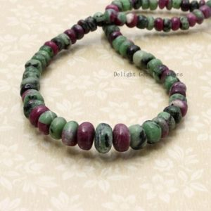 Shop Ruby Zoisite Necklaces! Ruby Zoisite Smooth Rondelle Beaded Necklace, 6mm-10mm Ruby Zoisite Natural Stone Jewelry, Women's Necklace, Anniversary Gift, Boho Necklace | Natural genuine Ruby Zoisite necklaces. Buy crystal jewelry, handmade handcrafted artisan jewelry for women.  Unique handmade gift ideas. #jewelry #beadednecklaces #beadedjewelry #gift #shopping #handmadejewelry #fashion #style #product #necklaces #affiliate #ad
