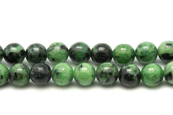 Wire 39cm 95pc Env - Stone Beads - Ruby Zoisite Balls 4 Mm