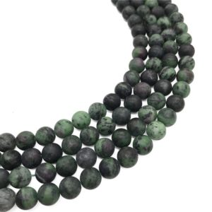 Shop Ruby Zoisite Round Beads! 8mm Matte Ruby Zoisite Beads, Green Stone Beads, Round Gemstone Beads, Wholesale Beads | Natural genuine round Ruby Zoisite beads for beading and jewelry making.  #jewelry #beads #beadedjewelry #diyjewelry #jewelrymaking #beadstore #beading #affiliate #ad