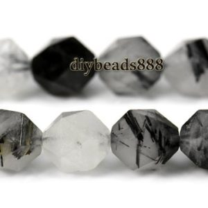 "Black Rutilated Quartz Faceted Nugget Star Cut Bead,Diamond cut bead,Nugget beads,Grade A,natural,gemstone,6mm 8mm 10mm 12mm,15"" full strand 