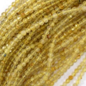 "Shop Rutilated Quartz Faceted Beads! 3mm faceted gold rutilated quartz round beads 15.5"" strand 40043 