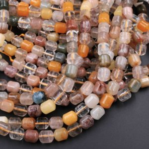 "Natural Phantom Quartz Barrel Beads Golden Red Green Phantom Quartz Rutile Quartz Natural Crystal 15.5"" Strand 