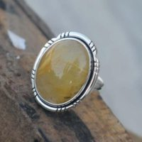 Beautiful Natural Rutilated Quartz Ring, solid 925 Stering Silver Quartz Ringgift For Her, rutile Quartz Ring, handmade Jewelry, natural Birthst | Natural genuine Gemstone jewelry. Buy crystal jewelry, handmade handcrafted artisan jewelry for women.  Unique handmade gift ideas. #jewelry #beadedjewelry #beadedjewelry #gift #shopping #handmadejewelry #fashion #style #product #jewelry #affiliate #ad