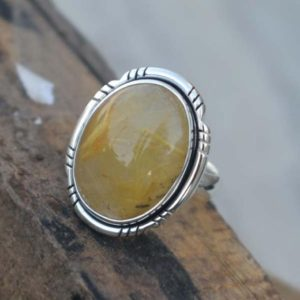 Shop Rutilated Quartz Rings! Beautiful Natural Rutilated Quartz Ring,Solid 925 Stering Silver Quartz RingGift for her,Rutile Quartz Ring,Handmade Jewelry,Natural Birthst | Natural genuine Rutilated Quartz rings, simple unique handcrafted gemstone rings. #rings #jewelry #shopping #gift #handmade #fashion #style #affiliate #ad