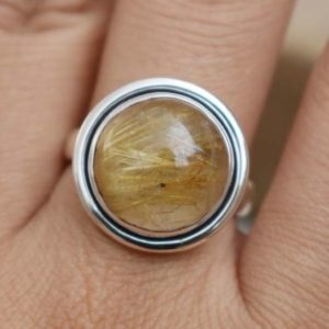 Shop Rutilated Quartz Rings! Natural Yellow Rutilated Quartz Ring,Round Rutile Ring,Solid 925 Sterling Silver Mother's Day Gift,Yellow Rutile Ring,Handmade Jewelry Ring | Natural genuine Rutilated Quartz rings, simple unique handcrafted gemstone rings. #rings #jewelry #shopping #gift #handmade #fashion #style #affiliate #ad