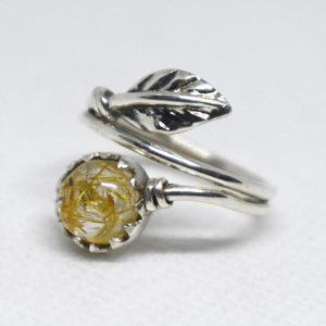 Shop Rutilated Quartz Rings! November Birthstone,African Golden Yellow Rutile Quartz Ring,Solid 925 Sterling Silver Ring,Rutilated Quartz Ring,Gift for her,Rutile Ring | Natural genuine Rutilated Quartz rings, simple unique handcrafted gemstone rings. #rings #jewelry #shopping #gift #handmade #fashion #style #affiliate #ad