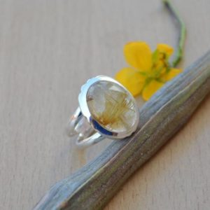 Shop Rutilated Quartz Rings! Yellow Rutilated Ring,Solid 925 Sterling Silver Rutile Ring,Handmade Golden Rutile Quartz Ring,African Golden Yellow Rutile Quartz Gift Ring | Natural genuine Rutilated Quartz rings, simple unique handcrafted gemstone rings. #rings #jewelry #shopping #gift #handmade #fashion #style #affiliate #ad