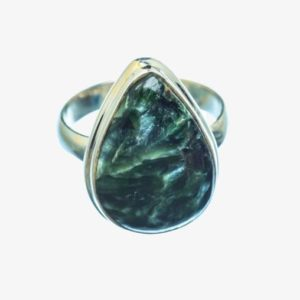 Shop Seraphinite Rings! Sale Seraphinite Ring, 925 Sterling Silver, Artisan Ring, Gemstone Jewelry, Green Color, Pear Shape, Silver Band Ring, Cab Stone, Silver   Natural genuine Seraphinite rings, simple unique handcrafted gemstone rings. #rings #jewelry #shopping #gift #handmade #fashion #style #affiliate #ad