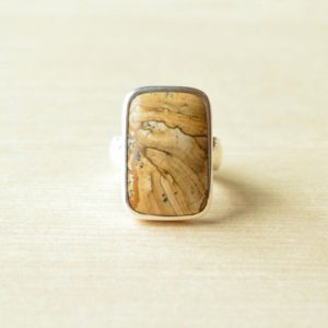 Sandy Mountain  Picture Jasper Ring // Jasper Jewelry // Sterling Silver // Village Silversmith | Natural genuine Picture Jasper rings, simple unique handcrafted gemstone rings. #rings #jewelry #shopping #gift #handmade #fashion #style #affiliate #ad