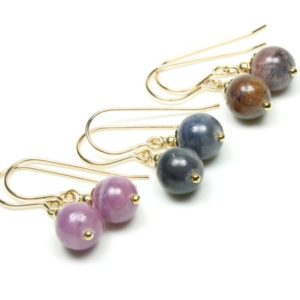 Shop Sapphire Earrings! Sapphire Earrings Gold Filled pink blue brown natural gemstones simple classic dangle drops September birthstone birthday gift for her 6149   Natural genuine Sapphire earrings. Buy crystal jewelry, handmade handcrafted artisan jewelry for women.  Unique handmade gift ideas. #jewelry #beadedearrings #beadedjewelry #gift #shopping #handmadejewelry #fashion #style #product #earrings #affiliate #ad