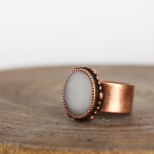 Shop Selenite Rings! Selenite Ring – Copper Ring – Meditation Ring – Chakra Ring | Natural genuine Selenite rings, simple unique handcrafted gemstone rings. #rings #jewelry #shopping #gift #handmade #fashion #style #affiliate #ad