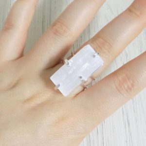 Shop Selenite Rings! Selenite Ring Gold – White Selenite Ring – Chakra Crystal Ring – Large Stone Adjustable Ring – Mothers Day Gift – G12-147 | Natural genuine Selenite rings, simple unique handcrafted gemstone rings. #rings #jewelry #shopping #gift #handmade #fashion #style #affiliate #ad