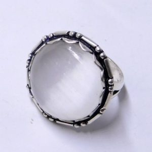 Shop Selenite Rings! Selenite Stone Ring Sterling Silver Round Shape Selenite jewelry Ring | Natural genuine Selenite rings, simple unique handcrafted gemstone rings. #rings #jewelry #shopping #gift #handmade #fashion #style #affiliate #ad