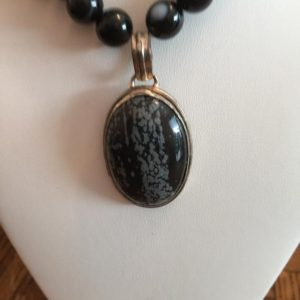 "Shop Snowflake Obsidian Necklaces! Semi Precious Snowflake Obsidian Necklace with Onyx, Silver Colored Fillagree, and  Matching Pendant 24"" Long 