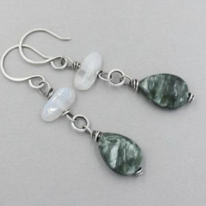 Shop Seraphinite Earrings! Seraphinite and Moonstone Earrings, Sterling Silver Shimmery Dangle Earrings with Gemstone Dangles, Green Handmade Artisan Earrings | Natural genuine Seraphinite earrings. Buy crystal jewelry, handmade handcrafted artisan jewelry for women.  Unique handmade gift ideas. #jewelry #beadedearrings #beadedjewelry #gift #shopping #handmadejewelry #fashion #style #product #earrings #affiliate #ad