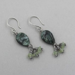 Shop Seraphinite Earrings! Seraphinite and Prehnite Earrings, Sterling Silver Wire Wrapped Stones with Gemstone Dangles, Green Earrings, Handmade Artisan Earrings | Natural genuine Seraphinite earrings. Buy crystal jewelry, handmade handcrafted artisan jewelry for women.  Unique handmade gift ideas. #jewelry #beadedearrings #beadedjewelry #gift #shopping #handmadejewelry #fashion #style #product #earrings #affiliate #ad