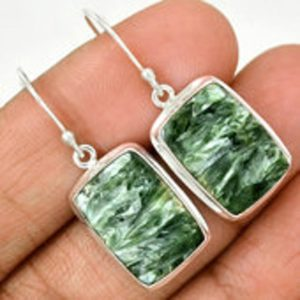 Shop Seraphinite Earrings! Seraphinite Earrings – dangle earrings – Seraphinite jewelry – Seraphinite cabochon – healing crystals and stones – heart chakra 488 | Natural genuine Seraphinite earrings. Buy crystal jewelry, handmade handcrafted artisan jewelry for women.  Unique handmade gift ideas. #jewelry #beadedearrings #beadedjewelry #gift #shopping #handmadejewelry #fashion #style #product #earrings #affiliate #ad
