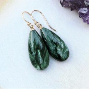 Seraphinite Teardrop Earrings | Deep Green Smooth Elongated Drop | Solid 14k Yellow Gold Hook or Leverback | Mother's Day Gift Ready to Ship | Natural genuine Gemstone earrings. Buy crystal jewelry, handmade handcrafted artisan jewelry for women.  Unique handmade gift ideas. #jewelry #beadedearrings #beadedjewelry #gift #shopping #handmadejewelry #fashion #style #product #earrings #affiliate #ad