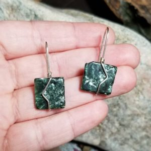 Shop Seraphinite Earrings! Seraphinite earrings, seraphinite, earrings, sterling silver earrings, wire wrap earrings, dangle earrings, gemstone earrings, | Natural genuine Seraphinite earrings. Buy crystal jewelry, handmade handcrafted artisan jewelry for women.  Unique handmade gift ideas. #jewelry #beadedearrings #beadedjewelry #gift #shopping #handmadejewelry #fashion #style #product #earrings #affiliate #ad