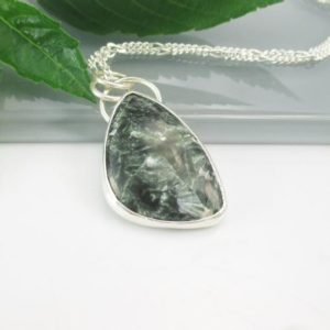 Shop Seraphinite Pendants! Seraphinite Gemstone Pendant Necklace with 18 inch Sterling Silver Chain | Natural genuine Seraphinite pendants. Buy crystal jewelry, handmade handcrafted artisan jewelry for women.  Unique handmade gift ideas. #jewelry #beadedpendants #beadedjewelry #gift #shopping #handmadejewelry #fashion #style #product #pendants #affiliate #ad