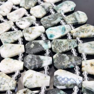 """Shop Seraphinite Beads! Seraphinite Graduated Faceted Trapezoid Size 18x28mm to 22x32mm 15.5"""" Strand 