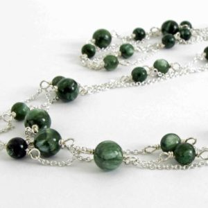Shop Seraphinite Necklaces! Seraphinite Necklace, Seraphinite and Silver Necklace, Triple Strand Necklace, Pretty Green Gemstone, Green and Silver, Multi Strand Chain | Natural genuine Seraphinite necklaces. Buy crystal jewelry, handmade handcrafted artisan jewelry for women.  Unique handmade gift ideas. #jewelry #beadednecklaces #beadedjewelry #gift #shopping #handmadejewelry #fashion #style #product #necklaces #affiliate #ad