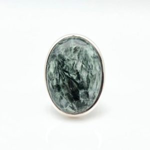 Shop Seraphinite Rings! Seraphinite Ring Size 8 – Green Seraphinite Silver Ring – Seraphinite Stone Ring — 925 Sterling Silver – Russian Seraphinite Ring   Natural genuine Seraphinite rings, simple unique handcrafted gemstone rings. #rings #jewelry #shopping #gift #handmade #fashion #style #affiliate #ad