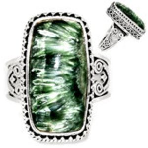 Shop Seraphinite Rings! Seraphinite Ring Size 9 – Seraphinite jewelry – Size 9 Ring – Seraphinite cabochon – healing crystals and stones – heart chakra 730   Natural genuine Seraphinite rings, simple unique handcrafted gemstone rings. #rings #jewelry #shopping #gift #handmade #fashion #style #affiliate #ad
