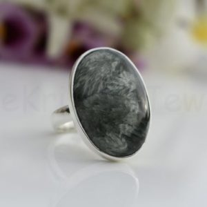 Shop Seraphinite Rings! Seraphinite Stone Ring, Sterling Silver Ring, Natural Gemstone, Oval Gemstone Ring, Cabochon Gemstone, Simple Band Ring, Christmas Gift   Natural genuine Seraphinite rings, simple unique handcrafted gemstone rings. #rings #jewelry #shopping #gift #handmade #fashion #style #affiliate #ad