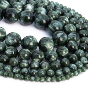 Shop Seraphinite Beads! Genuine Natural Seraphinite Loose Beads Grade AAA Ink Green Round Shape 6mm 8mm 10mm 12mm | Natural genuine round Seraphinite beads for beading and jewelry making.  #jewelry #beads #beadedjewelry #diyjewelry #jewelrymaking #beadstore #beading #affiliate #ad