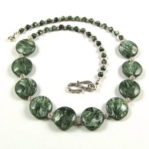 Shop Seraphinite Jewelry! Seraphinite & Sterling Silver Necklace – N151 | Natural genuine Seraphinite jewelry. Buy crystal jewelry, handmade handcrafted artisan jewelry for women.  Unique handmade gift ideas. #jewelry #beadedjewelry #beadedjewelry #gift #shopping #handmadejewelry #fashion #style #product #jewelry #affiliate #ad