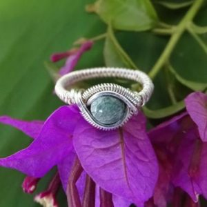 Seraphinite sterling silver wire ring. Seraphinite ring, wire wrapped ring, sterling silver ring, seraphinite jewelry,unique ring,elven ring | Natural genuine Gemstone rings, simple unique handcrafted gemstone rings. #rings #jewelry #shopping #gift #handmade #fashion #style #affiliate #ad