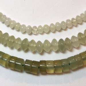 "Serpentine Gemstone Beads. Full 15"" strands of A/AA grade beads, available in 3 shapes: 4mm rondelle, 6mm rondelle and 6mm heishi. New Jade 