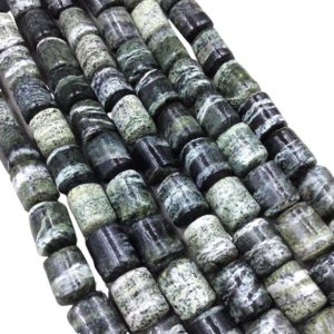 "10mm X 12mm Glossy Finish Natural Serpentine Barrel / tube Shape Beads W 1mm Holes – 15.5"" Strand (~ 30 Beads) – Quality Gemstone 