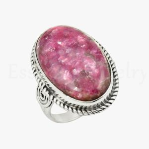 Shop Lepidolite Rings! Silver Thulite Ring, 925 Sterling Silver, Oval Gemstone, Natural Gemstone, Simple Band Ring, Twisted Bezel, Pink Thulite, Silver Gift | Natural genuine Lepidolite rings, simple unique handcrafted gemstone rings. #rings #jewelry #shopping #gift #handmade #fashion #style #affiliate #ad