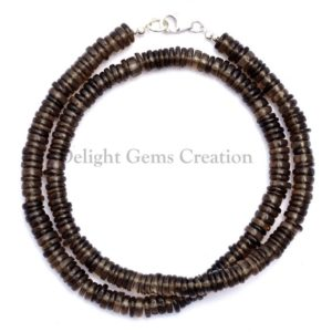 Shop Smoky Quartz Necklaces! Smoky Quartz Gemstone Beaded Necklace, 6-6.5mm Smoky Quartz Smooth Round Tyre Semi Precious Stone Beads 18 Inches Necklace, Crystal Necklace | Natural genuine Smoky Quartz necklaces. Buy crystal jewelry, handmade handcrafted artisan jewelry for women.  Unique handmade gift ideas. #jewelry #beadednecklaces #beadedjewelry #gift #shopping #handmadejewelry #fashion #style #product #necklaces #affiliate #ad