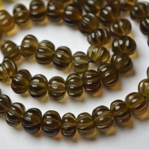 7 Inches Strand, smoky Quartz Smooth Melon Shape Rondelles Size 7-8mm | Natural genuine rondelle Smoky Quartz beads for beading and jewelry making.  #jewelry #beads #beadedjewelry #diyjewelry #jewelrymaking #beadstore #beading #affiliate #ad