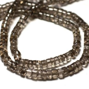 Wire 35cm approx – stone beads – smoky Quartz 125pc clear 4-5mm – 8741140013018 Heishi Rondelles | Natural genuine rondelle Smoky Quartz beads for beading and jewelry making.  #jewelry #beads #beadedjewelry #diyjewelry #jewelrymaking #beadstore #beading #affiliate #ad