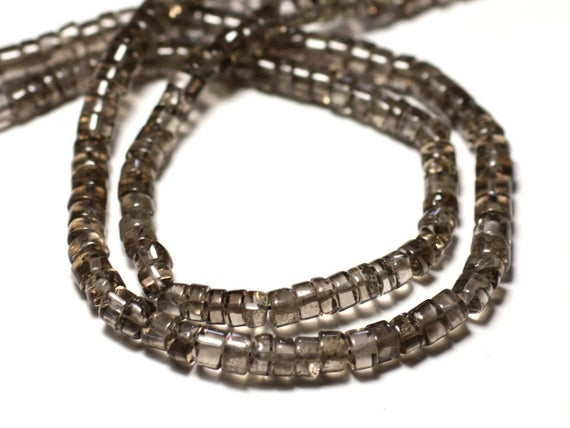 Wire 35cm Approx - Stone Beads - Smoky Quartz 125pc Clear 4-5mm - 8741140013018 Heishi Rondelles