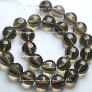 2 Match Pair, Finest Quality,Matched Pair 10mm Size,Smoky Quartz Step Cut Round Ball Beads, | Natural genuine beads Gemstone beads for beading and jewelry making.  #jewelry #beads #beadedjewelry #diyjewelry #jewelrymaking #beadstore #beading #affiliate #ad