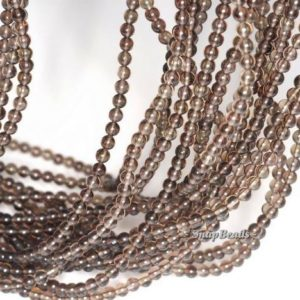 Shop Smoky Quartz Round Beads! 3mm Champagne Smoky Quartz Gemstone Round 3mm Loose Beads 16 inch Full Strand (90113949-107 – 3mm B) | Natural genuine round Smoky Quartz beads for beading and jewelry making.  #jewelry #beads #beadedjewelry #diyjewelry #jewelrymaking #beadstore #beading #affiliate #ad