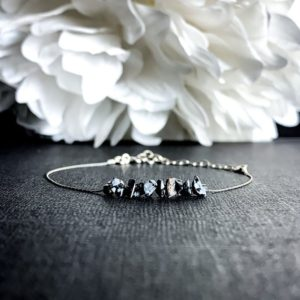 Shop Snowflake Obsidian Jewelry! Black Snowflake Obsidian Raw Crystal Bracelet Dainty Anklet | Natural genuine Snowflake Obsidian jewelry. Buy crystal jewelry, handmade handcrafted artisan jewelry for women.  Unique handmade gift ideas. #jewelry #beadedjewelry #beadedjewelry #gift #shopping #handmadejewelry #fashion #style #product #jewelry #affiliate #ad