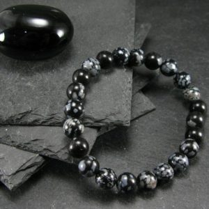Shop Snowflake Obsidian Jewelry! Snowflake Obsidian Genuine Bracelet ~ 7 Inches  ~ 8mm Round Beads | Natural genuine Snowflake Obsidian jewelry. Buy crystal jewelry, handmade handcrafted artisan jewelry for women.  Unique handmade gift ideas. #jewelry #beadedjewelry #beadedjewelry #gift #shopping #handmadejewelry #fashion #style #product #jewelry #affiliate #ad