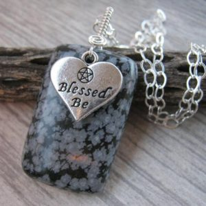 Shop Snowflake Obsidian Pendants! Blessed Be Necklace, Snowflake Obsidian Pendant, Pentacle Jewelry, Wiccan Necklace, Minimalist, Gemstone Pendant, Choose Your Length, GP13 | Natural genuine Snowflake Obsidian pendants. Buy crystal jewelry, handmade handcrafted artisan jewelry for women.  Unique handmade gift ideas. #jewelry #beadedpendants #beadedjewelry #gift #shopping #handmadejewelry #fashion #style #product #pendants #affiliate #ad