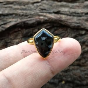Shop Snowflake Obsidian Rings! Snowflake Obsidian Ring – 10x15mm Smooth Shield Gemstone  – Sterling Silver Ring – 18k Gold Plated Ring – Obsidian Ring – Gemstone Ring | Natural genuine Snowflake Obsidian rings, simple unique handcrafted gemstone rings. #rings #jewelry #shopping #gift #handmade #fashion #style #affiliate #ad