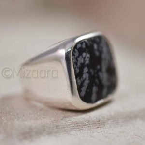 Shop Snowflake Obsidian Jewelry! Snowflake Obsidian Ring * 925 Solid Silver * Snowflake Men's Ring * Organic Gemstone* Solid Cushion Ring * Heavy Men's Ring * Boy's Obsidian | Natural genuine Snowflake Obsidian jewelry. Buy crystal jewelry, handmade handcrafted artisan jewelry for women.  Unique handmade gift ideas. #jewelry #beadedjewelry #beadedjewelry #gift #shopping #handmadejewelry #fashion #style #product #jewelry #affiliate #ad