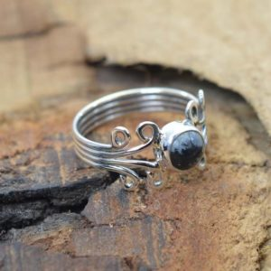 Shop Snowflake Obsidian Jewelry! Snowflake Obsidian 925 Sterling Silver Dainty Ring | Natural genuine Snowflake Obsidian jewelry. Buy crystal jewelry, handmade handcrafted artisan jewelry for women.  Unique handmade gift ideas. #jewelry #beadedjewelry #beadedjewelry #gift #shopping #handmadejewelry #fashion #style #product #jewelry #affiliate #ad